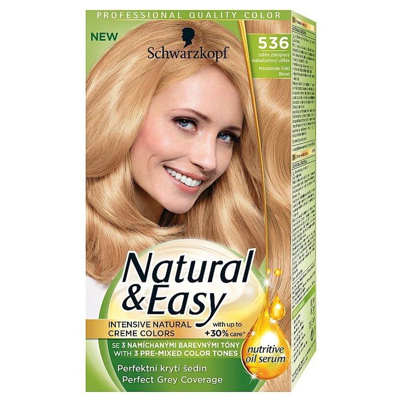 Schwarzkopf Natural & Easy farba na vlasy Zlatoplavý Makadamiový Orech 536