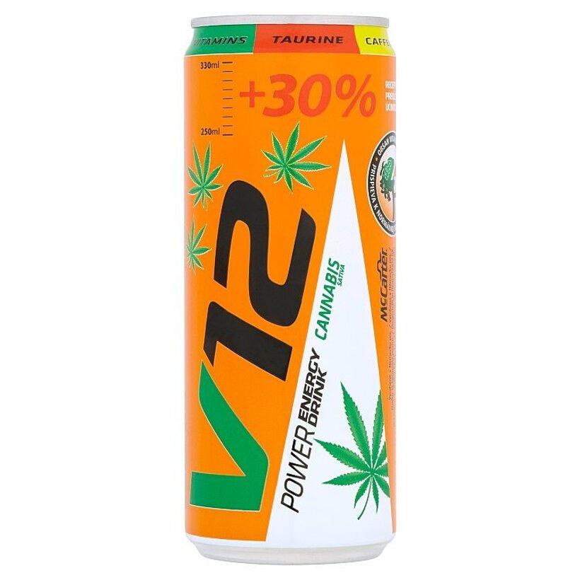 V12 Energetický nápoj s extraktom cannabis sativa 330 ml