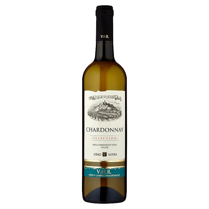 Víno Nitra Selection Chardonnay biele odrodové víno suché 0,75 l