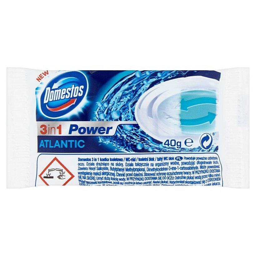 Domestos 3 in 1 Power Atlantic tuhý WC blok náhradná náplň 40 g