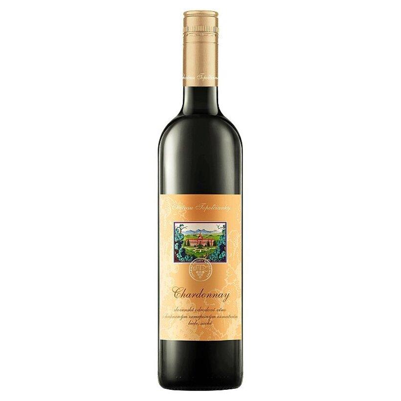 Château Topoľčianky Chardonnay slovenské odrodové víno biele suché 0,75 l