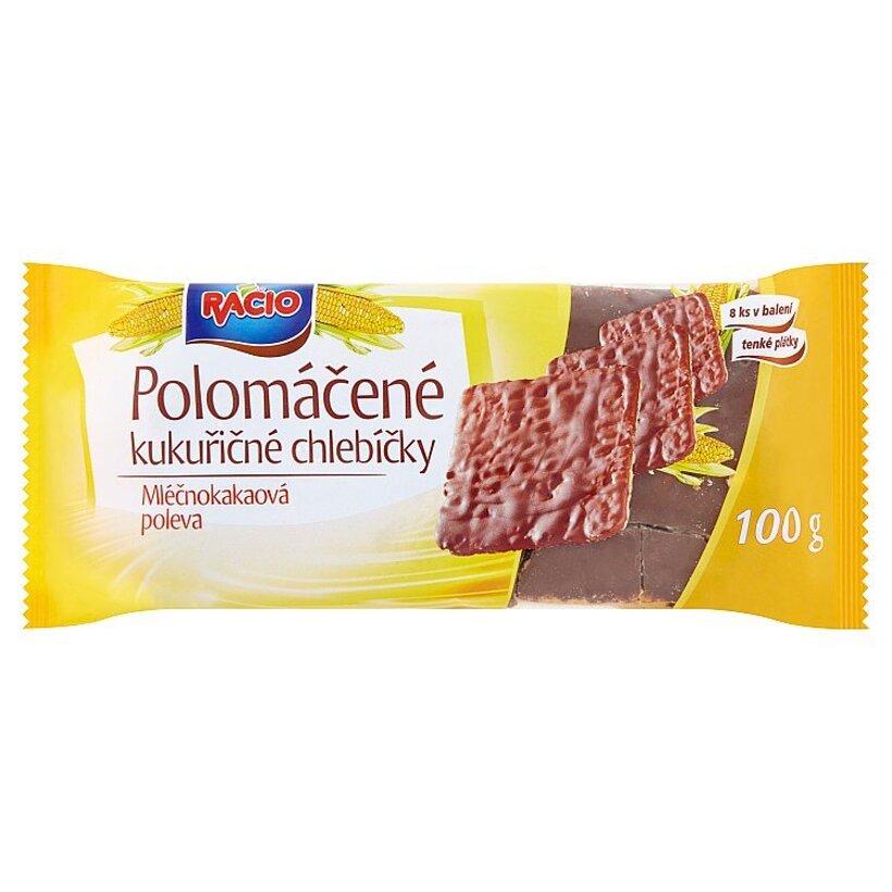 Racio Polomáčané kukuričné chlebíčky mliečnokakaová poleva 100 g