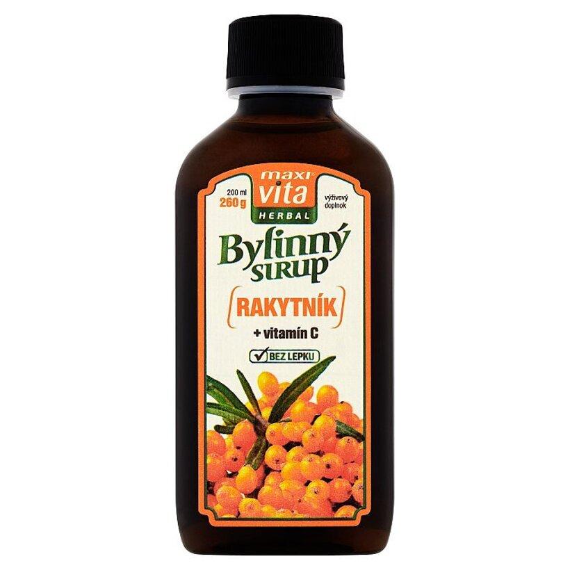 MaxiVita Herbal Bylinný sirup rakytník + vitamín C 200 ml