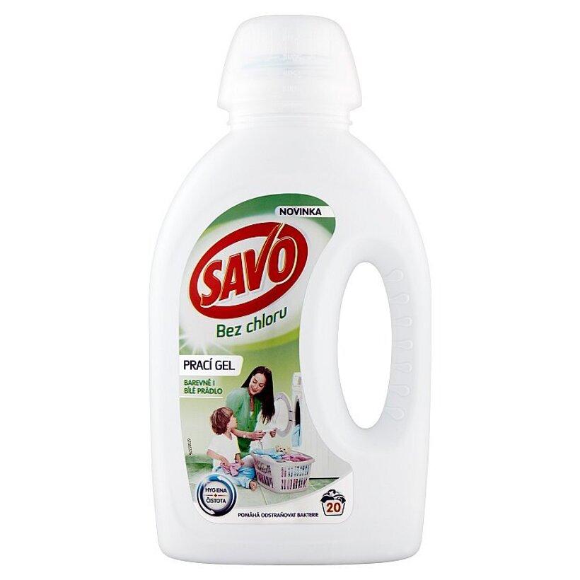 Savo Bez chlóru Gél na pranie na farebné aj biele oblečenie 20 praní 1 l