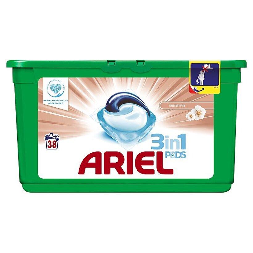Ariel Sensitive 3v1 gélové kapsuly na pranie bielizne, na 38 praní