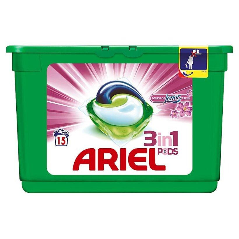 Ariel Touch of Lenor Fresh 3v1 gélové kapsuly na pranie bielizne, na 15 praní