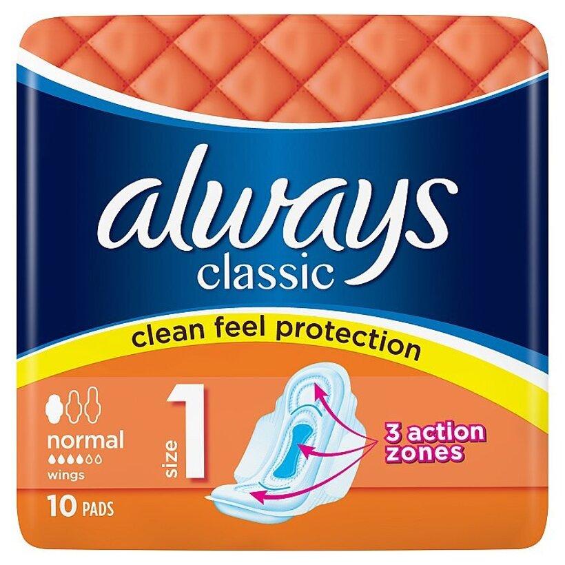 Always Classic Normal Hygienické Vložky S Krídelkami 10 Kusov