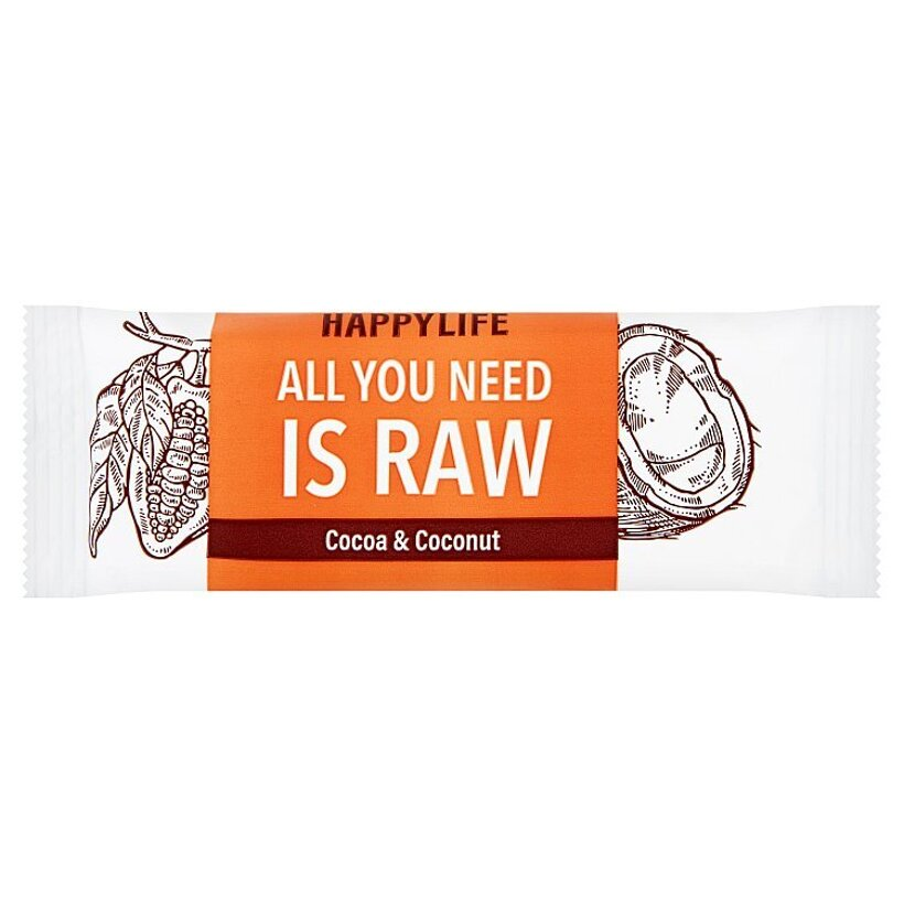 Happylife Bio & raw kakaová tyčinka s kokosom 50 g
