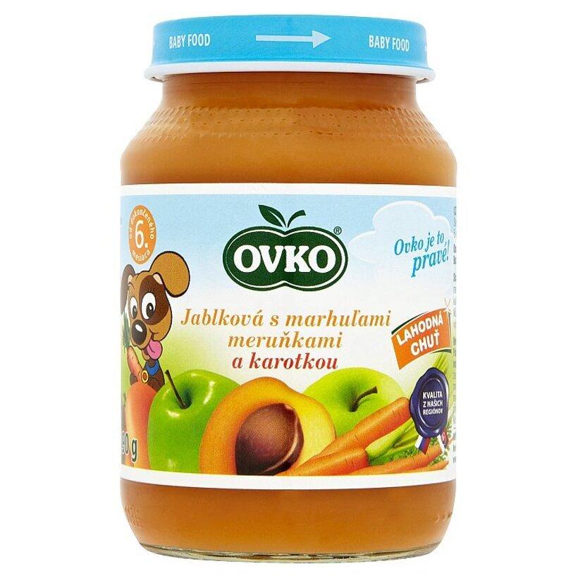 Ovko Dojčenská výživa jablková s marhuľami a karotkou 190 g