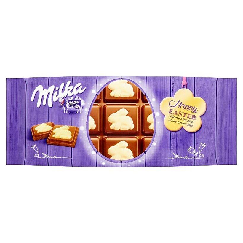 Milka Happy Easter Mliečna čokoláda z alpského mlieka a biela čokoláda 100 g