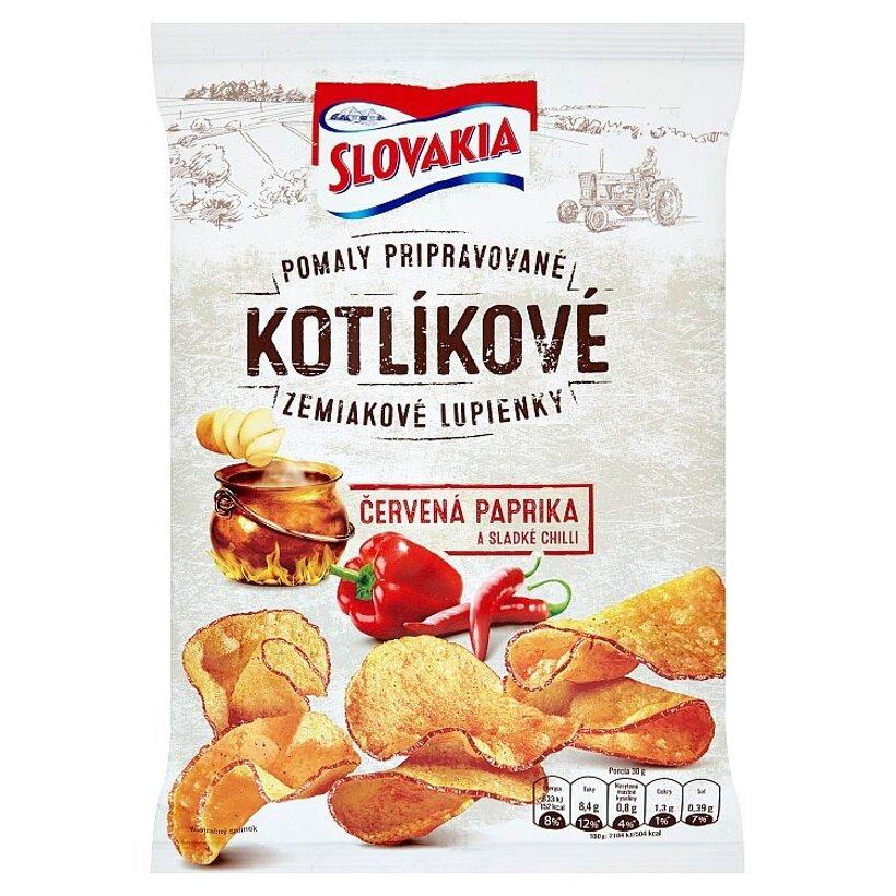 Slovakia Kotlíkové Zemiakové lupienky červená paprika a sladké chilli 120 g