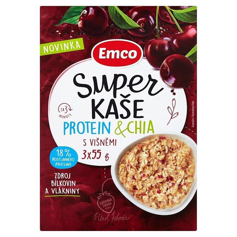 Emco Ovsená kaša proteín a chia s višňami 3 x 55 g