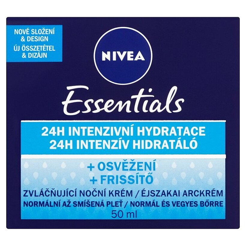 Nivea Essentials Zvláčňujúci nočný krém normálna až zmiešaná pleť 50 ml