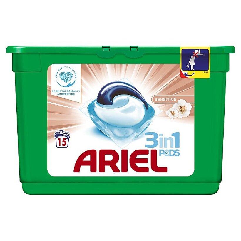 Ariel Sensitive 3v1 gélové kapsuly na pranie bielizne, na 15 praní