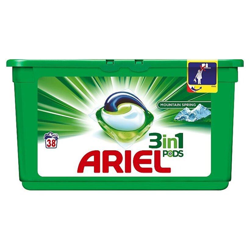 Ariel Mountain Spring 3v1 gélové kapsuly na pranie bielizne, na 38 praní
