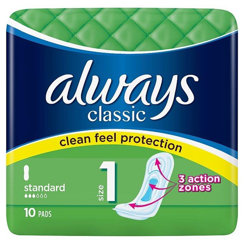 Always Classic Standard Hygienické Vložky 10 Kusov