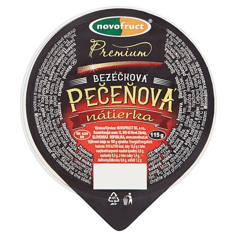 Novofruct Premium Pečeňová nátierka bezéčková 115 g