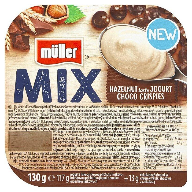 Müller Mix Hazelnut Taste Jogurt Choco Crispies jogurt s lieskovoorieškovou príchuťou 130 g