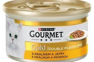GOURMET Gold Double Pleasure s králikom a pečeňou 85 g