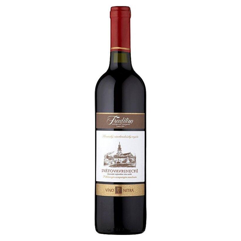 Víno Nitra Tradition Svätovavrinecké slovenské regionálne odrodové víno červené suché 0,75 l