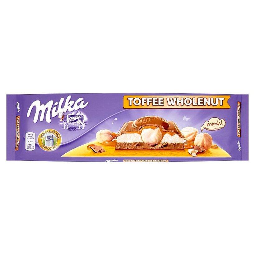 Milka Mliečna čokoláda z alpského mlieka plnená mliečnou náplňou a karamelovou príchuťou 300 g