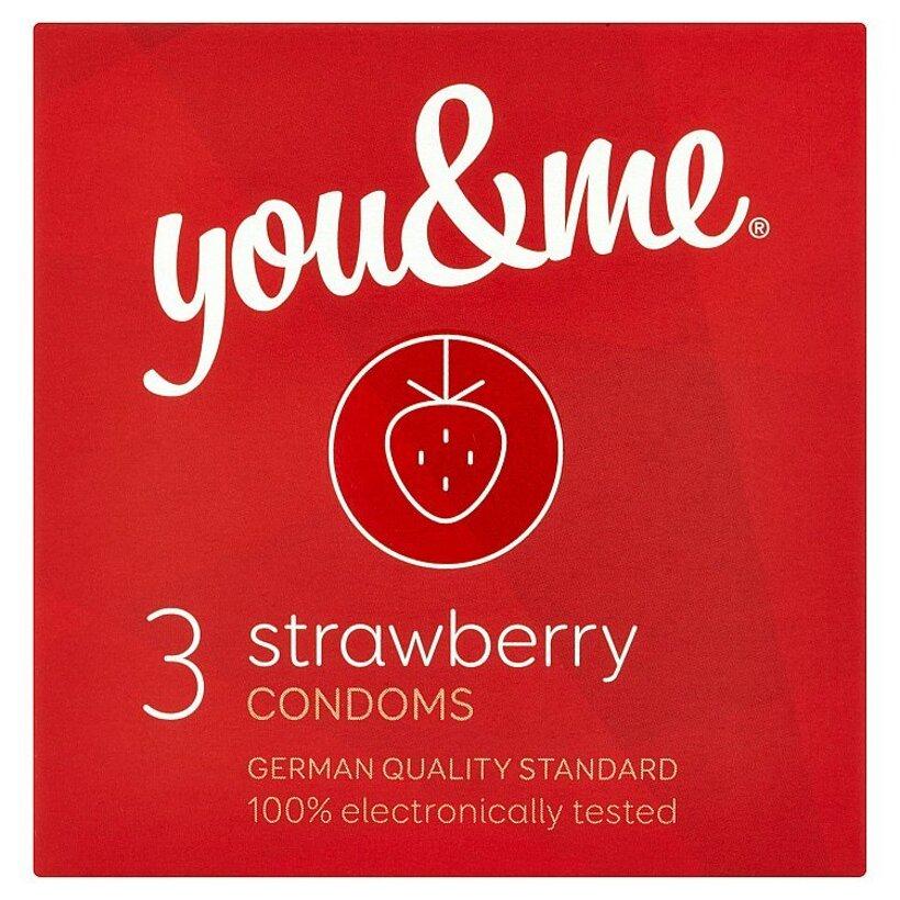 you & me strawberry kondómy s jahodovou arómou 3 ks