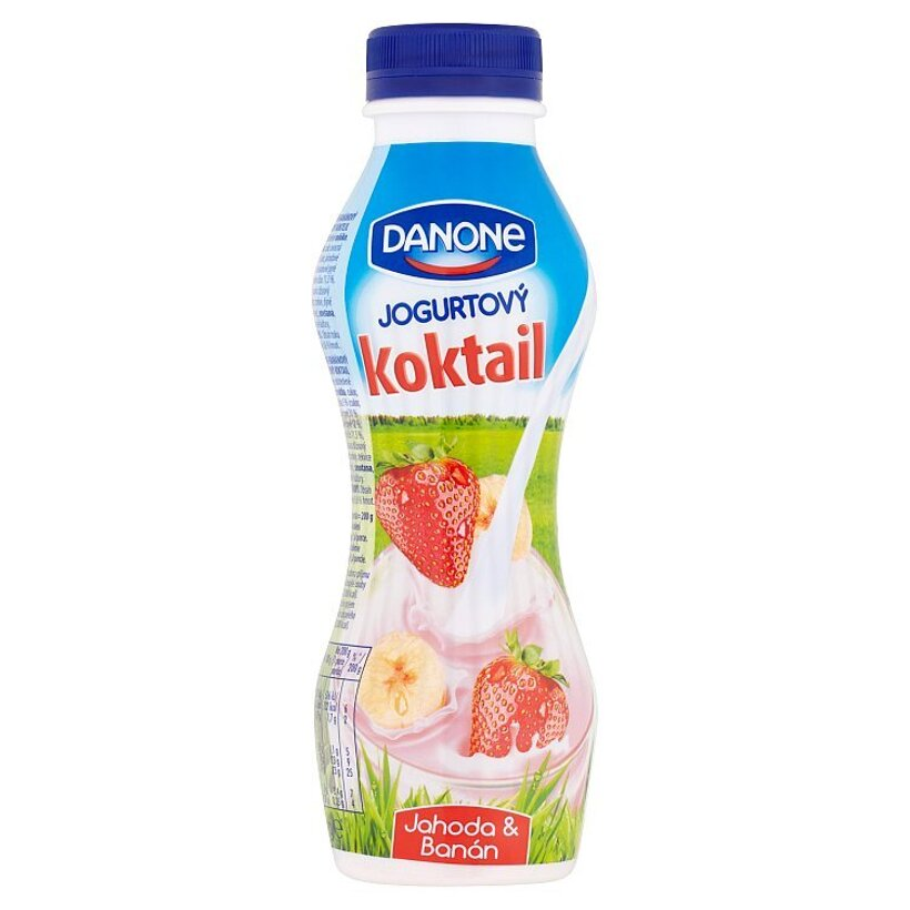 Danone Jogurtový koktail jahoda & banán 320 g