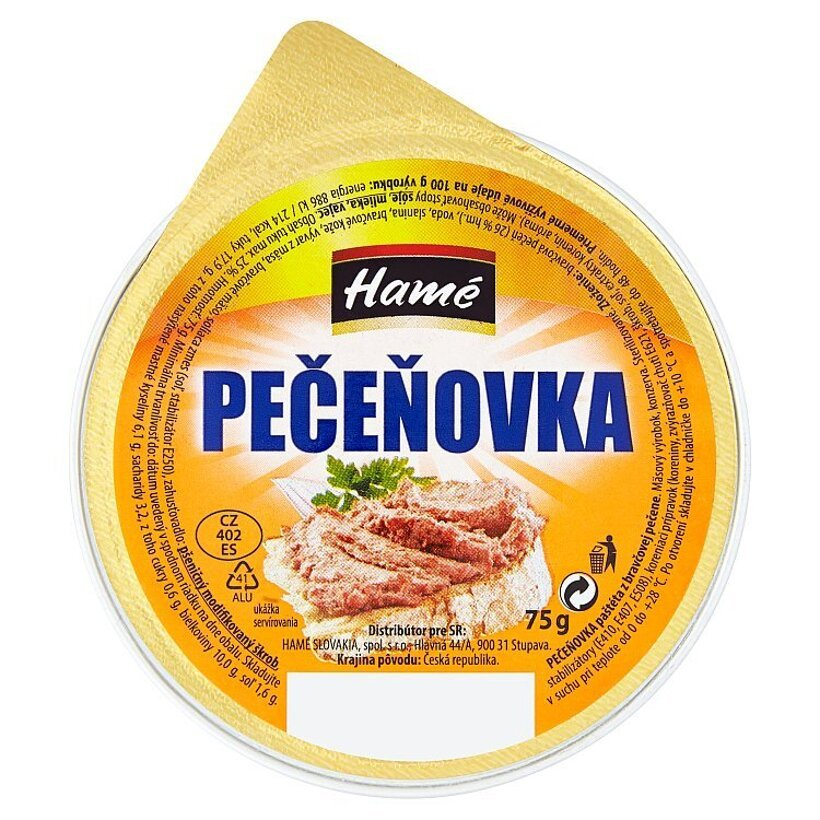 Hamé Pečeňovka paštéta z bravčovej pečene 75 g