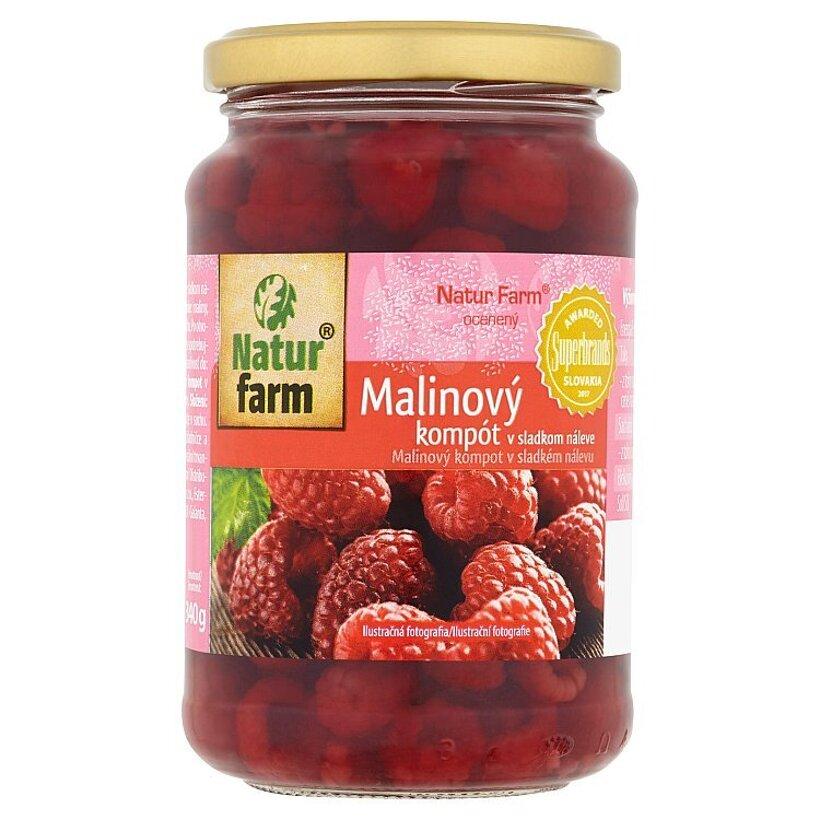 Natur Farm Malinový kompót v sladkom náleve 340 g