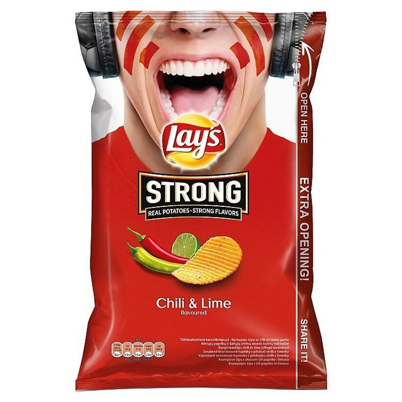 Lay's Strong Vyprážané zemiakové lupienky s príchuťou chilli a limetky 150 g