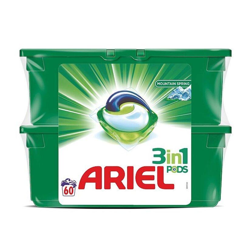 Ariel 3v1 PODS Mountain Spring Gélové Kapsuly Na Pranie, 2x30 kusov