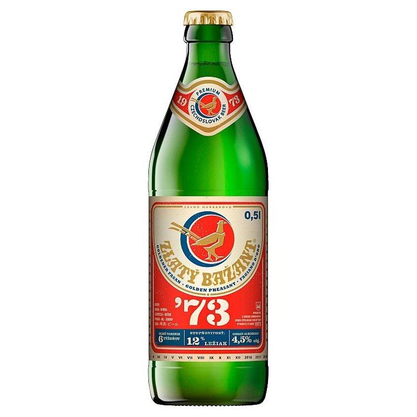 Zlatý Bažant '73 pivo svetlý ležiak fľaša 0,5 l
