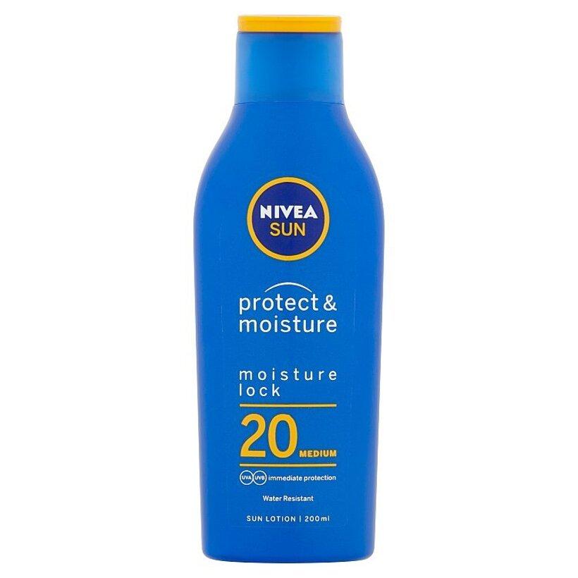 Nivea Sun Protect & Moisture Hydratačné mlieko na opaľovanie OF 20 200 ml