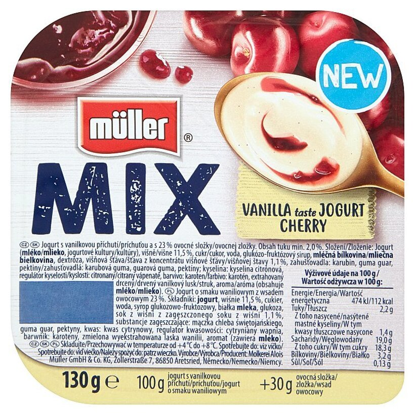 Müller Mix Vanilla Taste Jogurt Cherry jogurt s vanilkovou príchuťou 130 g