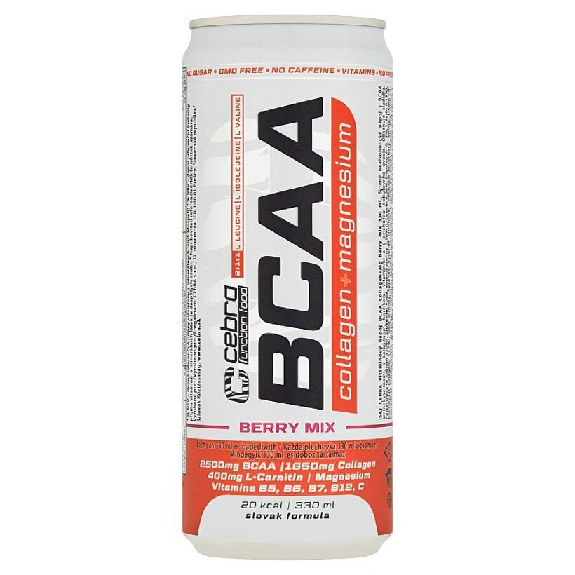 Cebra Function Food Vitamínový nápoj BCAA Collagen+Mg Berry Mix 330 ml