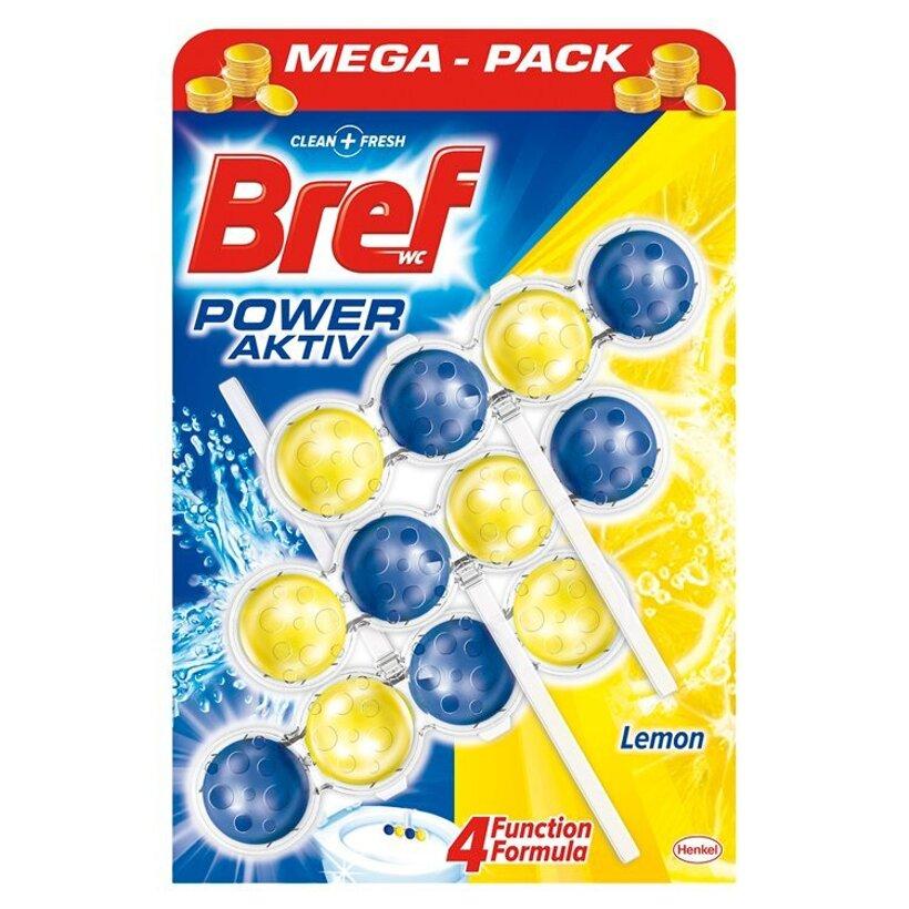 Bref Power Aktiv WC blok so 4 funkciami s vôňou citrónu 3 x 50 g