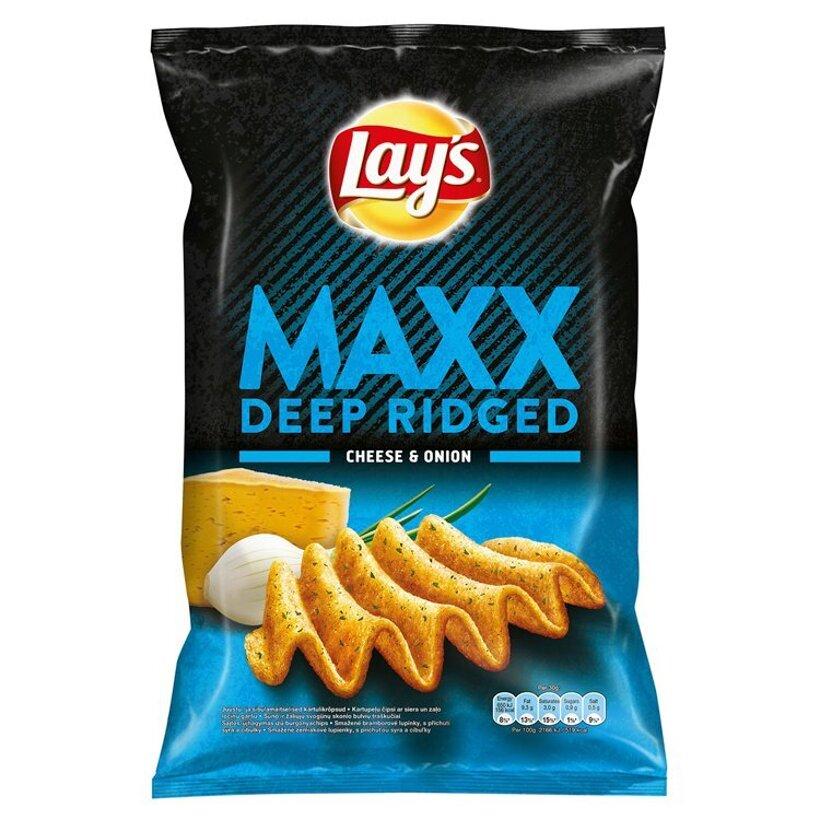 Lay's Maxx Smažené zemiakové lupienky s príchuťou syra a cibuľky 140 g