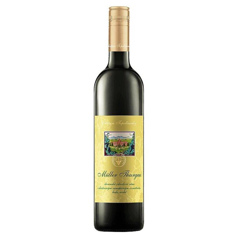 Château Topoľčianky Müller Thurgau slovenské odrodové víno biele suché 1 l