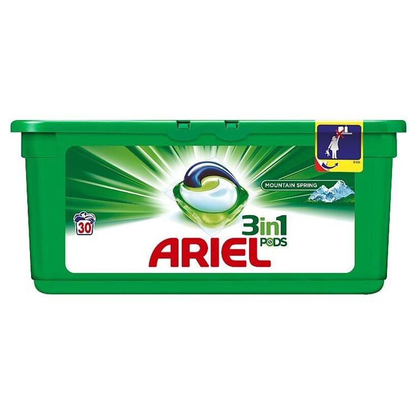 Ariel Mountain Spring 3v1 gélové kapsuly na pranie bielizne, na 30 praní