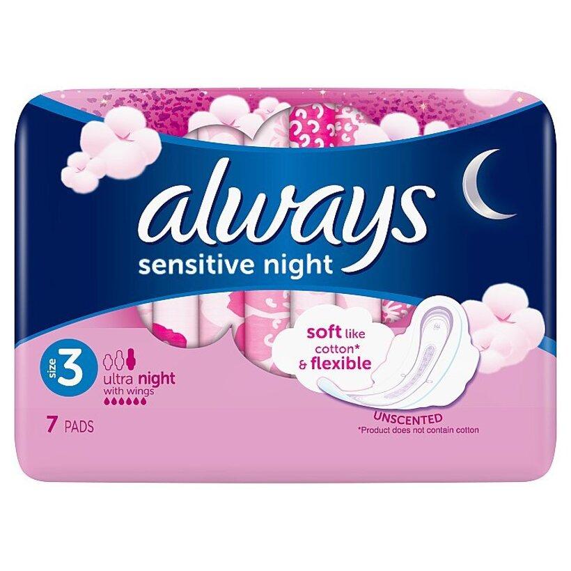 Always Ultra Sensitive Night (Veľkosť 3) Hygienické Vložky 7 ks
