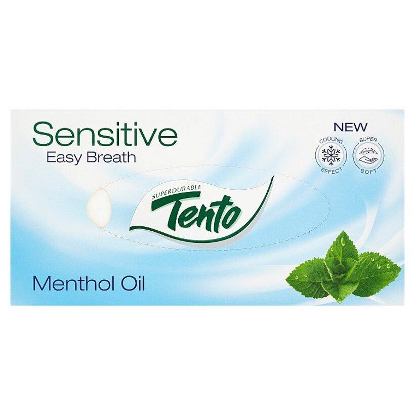 Tento Sensitive Easy Breath Menthol Oil kozmetické utierky 3 vrstvové 70 ks