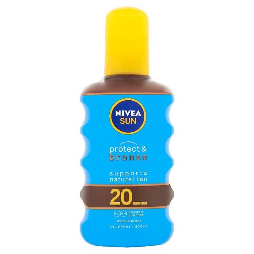 Nivea Sun Protect & Bronze Olej na opaľovanie v spreji podporujúci zhnednutie OF 20 200 ml