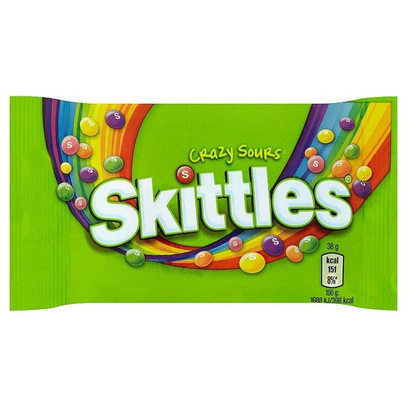 Skittles Crazy sours žuvacie cukríky s kyslými ovocnými príchuťami 38 g