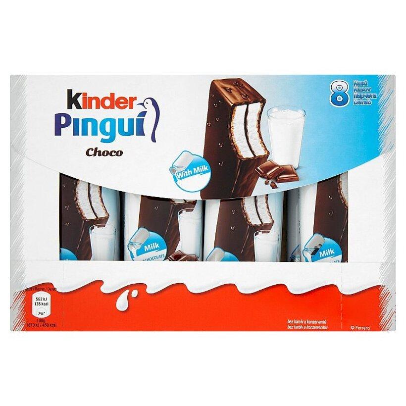 Kinder Pingui Choco piškótové rezy s mliečnou náplňou poliate čokoládou 8 x 30 g