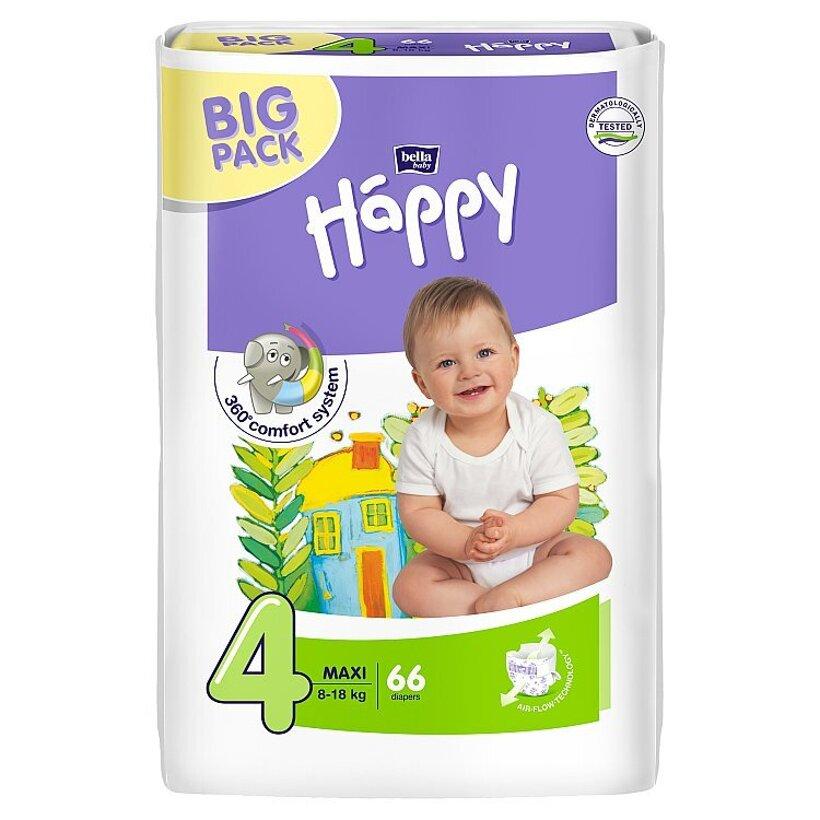 """Happy Maxi Detské plienky """"4"""" á 66 ks"""