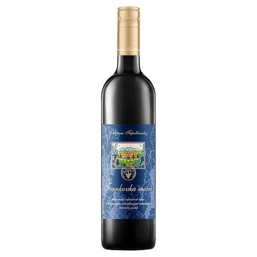 Château Topoľčianky Frankovka modrá slovenské odrodové suché červené víno 1,0 l