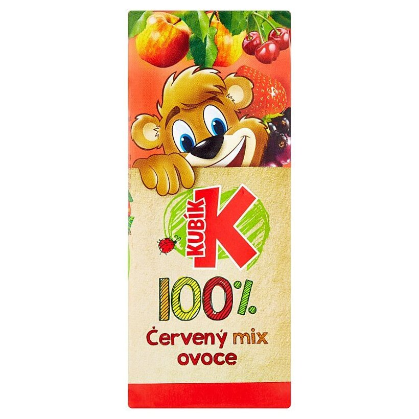 Kubík 100% červený mix ovocia 200 ml