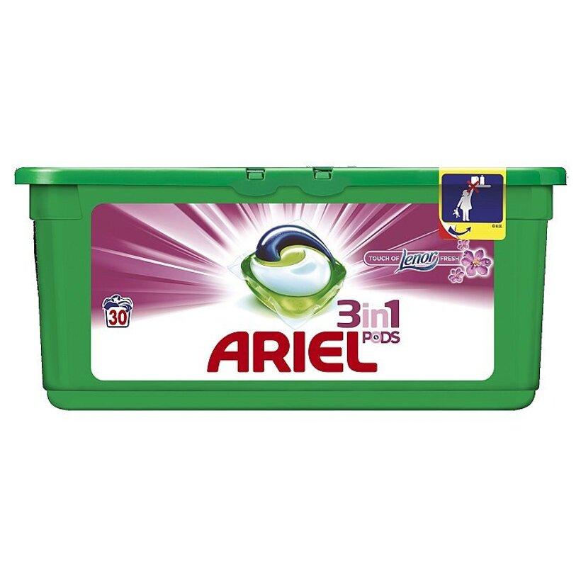 Ariel Touch of Lenor Fresh 3v1 Gélové Kapsuly na Pranie Bielizne 30 praní