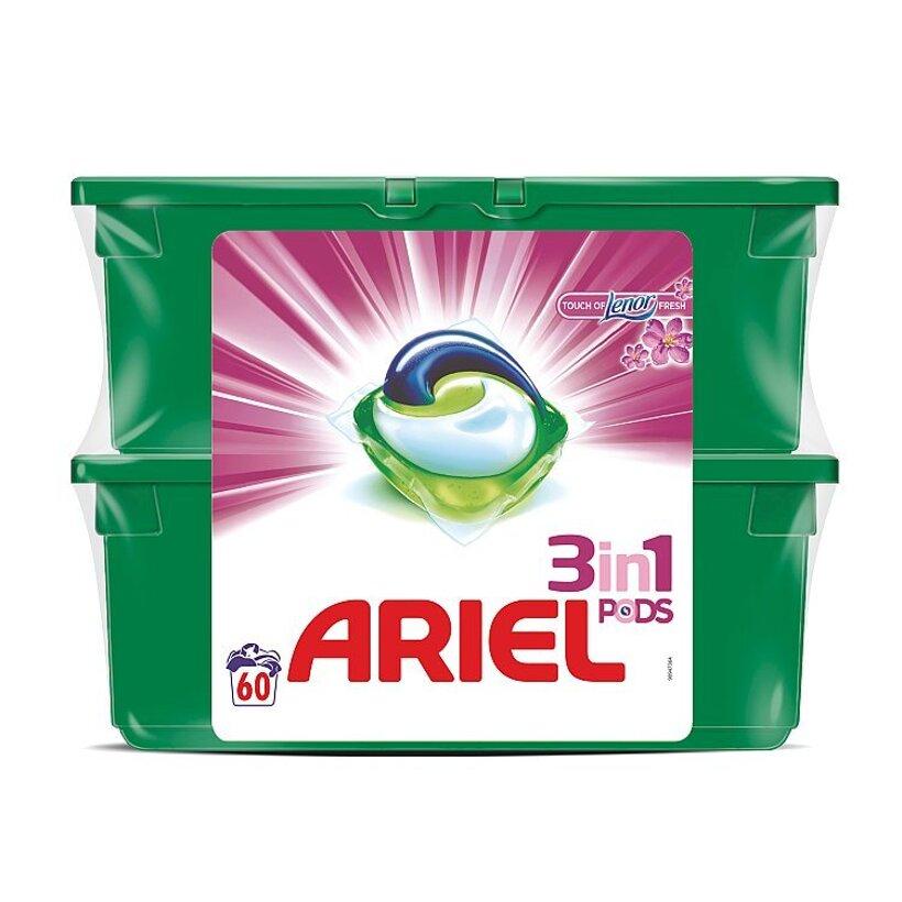 Ariel 3v1 PODS Touch of Lenor Fresh Gélové Kapsuly Na Pranie, 2x30 kusov