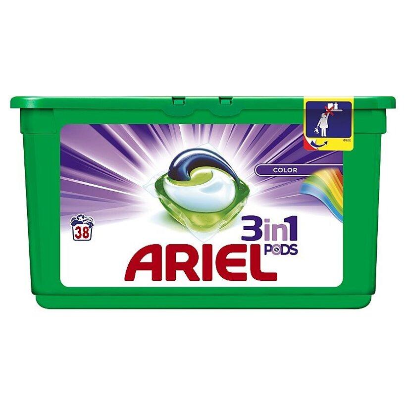 Ariel Color 3v1 gélové kapsuly na pranie bielizne, na 38 praní